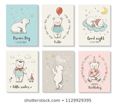 Cute Cards Little Bear Vector Characters Stock Vector (Royalty Free) 1129929395 Bear Vector, Vector Free, Sailor Birthday, Baby Shower Greeting Cards, Bear Character, Portfolio, Cute Cards, Royalty Free Images, How To Draw Hands
