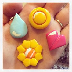Polymer clay Pokemon badge magnets -By Tiny Things By Bowen