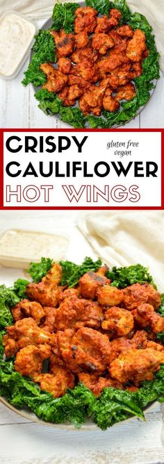 recipes Crispy Cauliflower Hot Wings – vegan and gluten free These baked Crispy Cauliflower Hot Wings are great for the vegans and meat eaters alike! They are perfectly crispy, spicy, and simple to make! Whole Food Recipes, Cooking Recipes, Healthy Recipes, Diet Recipes, Yummy Recipes, Healthy Dinners, Spinach Recipes, Party Recipes, Recipies