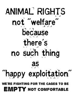 """animal welfarists are OK with animal exploitation and believe in meaningless lies like """"humane"""" and """"cage free"""" and """"crate free"""" and """"free range"""" when in truth, ALL ANIMAL USE IS ANIMAL ABUSE: All of it is unnecessary and immoral. #VEGAN"""