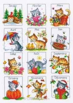 Cat Calendar from Vervaco counted cross stitch kit. Cat Cross Stitches, Cross Stitching, Cross Stitch Embroidery, Embroidery Patterns, Cross Stitch Designs, Cross Stitch Patterns, Cat Calendar, Love Knitting, Cross Stitch Animals