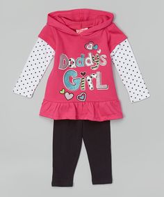 57289ae1f4a98e Loving this Young Hearts Pink 'Daddy's Girl' Hooded Tunic & Leggings -  Toddler & Girls on