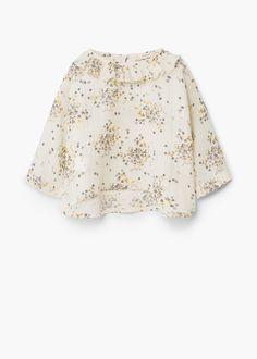 Blusa estampada folhos | MANGO KIDS