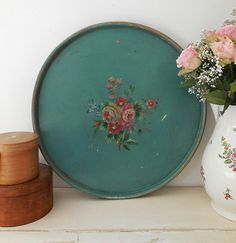 Stunning large vintage handpainted wooden tray