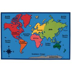 Found it at Wayfair - Value Plus World Map Area Rug