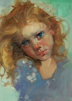 """My Little Butterfly"" Kim Rberti's 5x7 original oil portrait of a sweet little girl, painting by artist Kim Roberti"
