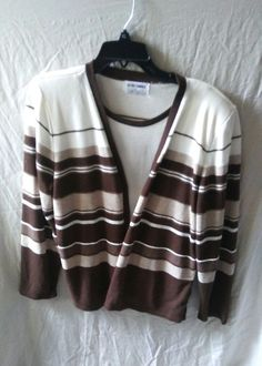 Vintage Alfred Dunner Size Large Cream Brown Striped Sweater Blouse Knit Top  #AlfredDunner #AlfredDunnerSweaterSizeLarge
