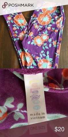 LuLaRoe OS Bright Floral Leggings Worn once, great condition! Os leggings, purple and orange floral design LuLaRoe Pants Leggings