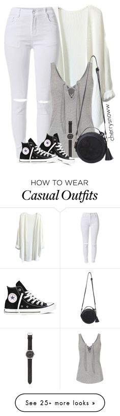 """""""Monochrome casual spring outfit"""" by cherrysnoww on Polyvore featuring J.Crew and Converse"""