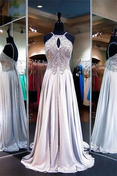 A Line Cut Out Low Back Silver Chiffon Beaded Prom Dress With Straps