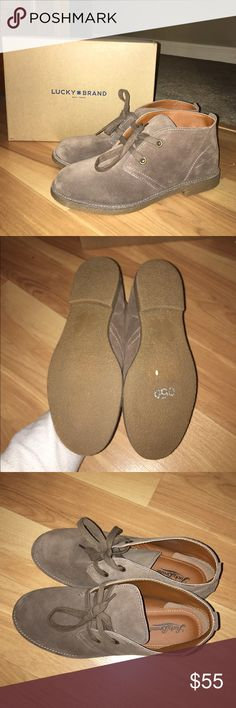 Lucky brand shoes size 9 Lucky brand taupe suede shoes brand new never worn. Size 9. Tiny clover, peace sign and heart on the heel (barely noticeable). Super cute with leggings or jeans; goes with anything. Small heel; 1 inch Lucky Brand Shoes Ankle Boots & Booties