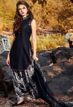 Black and Cream Cotton Jacquard Patiala Suit Designer Salwar Kameez, Patiala Salwar, Indian Designer Sarees, Indian Designer Wear, Anarkali, Lehenga Choli, Salwar Designs, Patiala Suit Designs, Kurta Designs Women