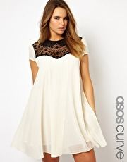 ASOS Curve | ASOS CURVE Exclusive Swing Dress with Lace Insert at ASOS