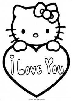 Free printable hello kitty valentines day coloring pages for kids.free print out…