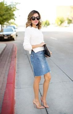 Wear a knee-length denim skirt with a chunky sweater for an easy outfit that's also versatile.