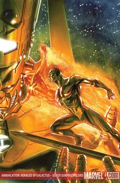 Annihilation: Heralds of Galactus - Silver Surfer/Firelord by Gabriele Dell'Otto Marvel Comics Art, Marvel Comic Books, Comic Book Heroes, Marvel Characters, Marvel Heroes, Anime Comics, Comic Books Art, Silver Surfer, Comic Art Community