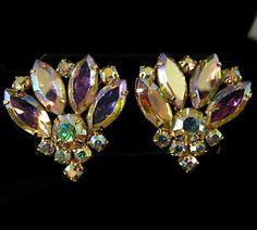 Vintage Earrings Gold Tone Aurora Borealis Navettes Juliana Style | eBay
