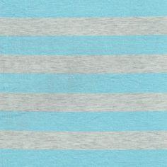 "1"" Baby Blue/Heather Gray Stripes Rayon Jersey Stretch Knit Fabric, Causal Jersey Knit Fabric, Knitting Fabric - 1 Yard Style 422"