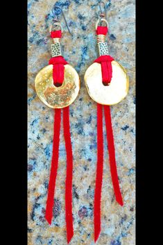 Gold Disc and Red Leather Bohemian Statement Fringe Earrings Fringe Earrings, Leather Earrings, Leather Jewelry, Leather Fringe, Red Leather, Red Jewelry, Jewellery, Golden Discs, Gold Hoops