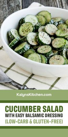 Salad With Balsamic Dressing, Salad Dressing, Diabetic Recipes, Keto Recipes, Easy Cucumber Salad, My Favorite Food, Favorite Recipes, White Balsamic Vinegar, Clean Eating