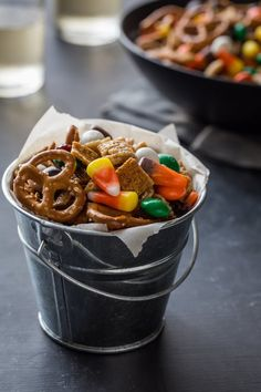 Pin for Later: 23 Brilliant Ways to Use Up Your Leftover Halloween Candy Stash Pumpkin Spice Chex Mix Like a little salt with your sweet? Try this clever take on Chex Mix, which incorporates candy of all sorts.