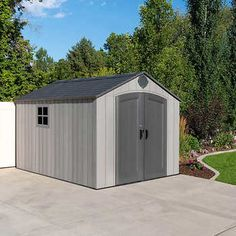 Front Yard Landscaping Discover Lifetime 8 x Resin Outdoor Storage Shed Stonecroft 12 x 10 Wood Storage Shed Wood Storage Sheds, Outdoor Storage Sheds, Wood Shed, Firewood Storage, Storage Area, Garage Storage, Diy Storage, Plastic Sheds, Barn Style Doors