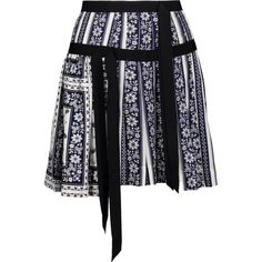 Cinq a Sept - Amory Grosgrain-trimmed Printed Silk-satin Mini Skirt (210 CAD) ❤ liked on Polyvore featuring skirts, mini skirts, midnight blue, short pleated skirt, panel skirt, ruched skirt and ruched mini skirt