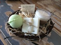 Lavender Mint Gift Spa Gift Basket - Made with Essential Oils.  Handmade by EstellaGraceUSA #HealingBasket #LavenderBasket #GiftBasket