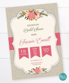 Bridal Shower Invitation, Linen background, Flowers, Shabby Chic Bridal Shower, Southern Charm Invitation, DIGITAL PRINTABLE FILE by FlairandPaper on Etsy