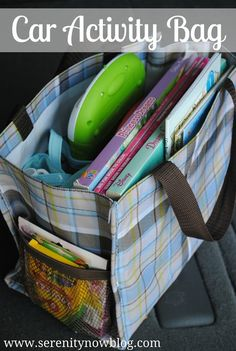 "Car Activity Bags (Travel Tips) via  - great idea for a peaceful road trip or any outing to keep your kid occupied. ♥ The easiest ""distraction bag"" will contain: snacks and a drink, wet wipes, a small blanket, and travel Nintendo or ipod. Simple ♥"