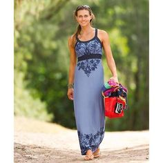 cobalt printed maxi dress