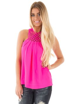 Lime Lush Boutique - Fuchsia Sleeveless Pleated Top with Strappy Halter Neckline, $32.99 (https://www.limelush.com/fuchsia-sleeveless-pleated-top-with-strappy-halter-neckline/)