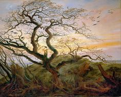 """Caspar David Friedrich """"The Tree of Crows"""" (The Raven Tree) 1822 Oil on canvas cm × cm) Musée du Louvre – Paris, France Caspar David Friedrich, C D Friedrich, Joseph Mallord William Turner, Oil On Canvas, Canvas Prints, Old Paintings, A4 Poster, Wassily Kandinsky, Up Girl"""