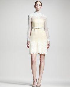 Valentino Lace-Trim Organza Dress Valentino