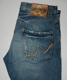 SCOTCH & SODA AMSTERDAM RUFF CUT STRAIGHT LEG BLUE FADED JEANS W33 L32 MID RISE