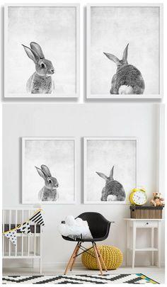Cute Baby Nursery Bunny Art Set of 2 Chic Nursery, Baby Nursery Decor, Nursery Design, Nursery Art, Nursery Ideas, Room Ideas, Scandinavian Nursery Decor, Bunny Nursery, Nursery Wallpaper