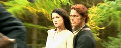 Sam Heughan and Caitriona Balfe on the ride to Castle Leoch