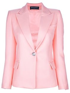 Shop for Peaked Lapel Blazer by Balmain at ShopStyle. Balmain Blazer, Balmain Jacket, Couture Coats, Vest Jacket, Pink Jacket, Office Outfits, Vintage Outfits, My Style, Fashion Design