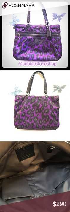 """Coach Daisy Ocelot Print Glam Tote purple black Purple Black Coach Daisy Ocelot Print Glam Tote Shoulder Purse Silver hardware Zip top closure Large front zip pocket Inside zip, cell phone and multifunction pockets Interior Coach leather creed Measurements approx:16"""" (L) x 13"""" (H) x 3"""" (W), handles with 8"""" drop Coach Bags Totes"""