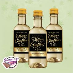 Christmas Mini Wine Labels  Gold Mini Wine by AnnounceItFavors