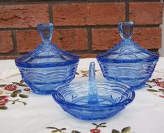 Vintage Blue Depression Glass Dressing Table by thesecretcupboard, $29.00