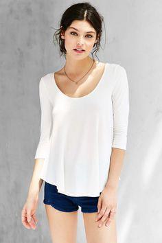 Kimchi Blue Shadow Scoop Neck Top - Urban Outfitters