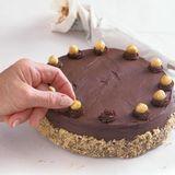 Hazelnut Dacquoise with Chocolate Mousse & Candied Hazelnuts - Recipe - FineCooking Hazelnut Recipes, Tart Pan, Thing 1, Cake Toppings, Mousse, A Food, Chocolate, Baking, Bakken
