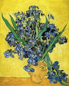 Still Life with Irises - Vincent van Gogh  - Painted in May 1890 while in the Saint-Rémy Asylum - Current location: Van Gogh Museum, Amsterdam, Netherlands ...............#GT
