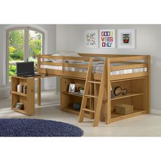 Mack & Milo Kwinana Twin Low Loft Bed with Desk and Bookcase Bed Frame Color: Drawer Bookshelf, Bed Shelves, Junior Loft Beds, Low Loft Beds, Loft Bed Frame, Loft Bed Desk, Trundle Bed With Storage, Kids Toddler Bed, Casa Loft