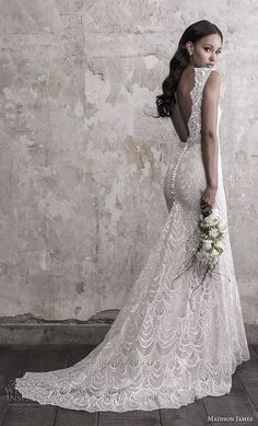 madison james fall 2018 bridal sleeveless with strap v neck full embellishment elegant fit and flare sheath wedding dress open back chapel train bv -- Madison James Fall 2018 Wedding Dresses Open Back Wedding Dress, Wedding Dresses With Straps, Fit And Flare Wedding Dress, Fall Wedding Dresses, Wedding Dress Sleeves, Elegant Wedding Dress, Wedding Gowns, Boho Lace Wedding Dress, Wedding Ceremony