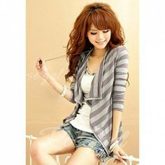 Fashionable Irregularity Hem Stripe Color Block Long Sleeve Coat For Women