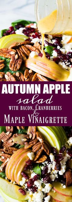 Autumn Apple Salad with a Maple Vinaigrette will let you celebrate all the flavors of Fall! Pecans, cranberries, apples, feta and baby spinach all drizzled with an easy to make maple dijon vinaigrette! Healthy Salads, Healthy Eating, Healthy Recipes, Fruit Salads, Salad Bar, Soup And Salad, Thanksgiving Recipes, Fall Recipes, Thanksgiving Salad
