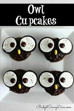 Owl cupcakes Chocolate cupcake Oreo cookies Chocolate frosting Reeses pieces