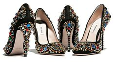 Miu Miu's Bedazzled Heels are Perfect for Holiday Occasions #shoes #fashion trendhunter.com